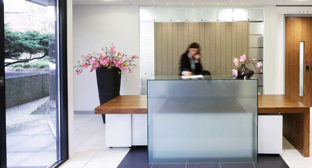 The reception area at 33 Cathedral Road, a Rombourne serviced office