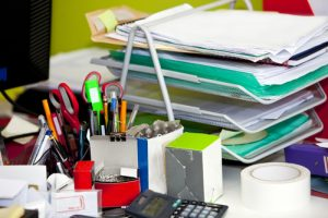 cluttered office desk