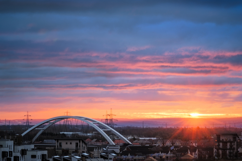 Sunset over Newport, Wales