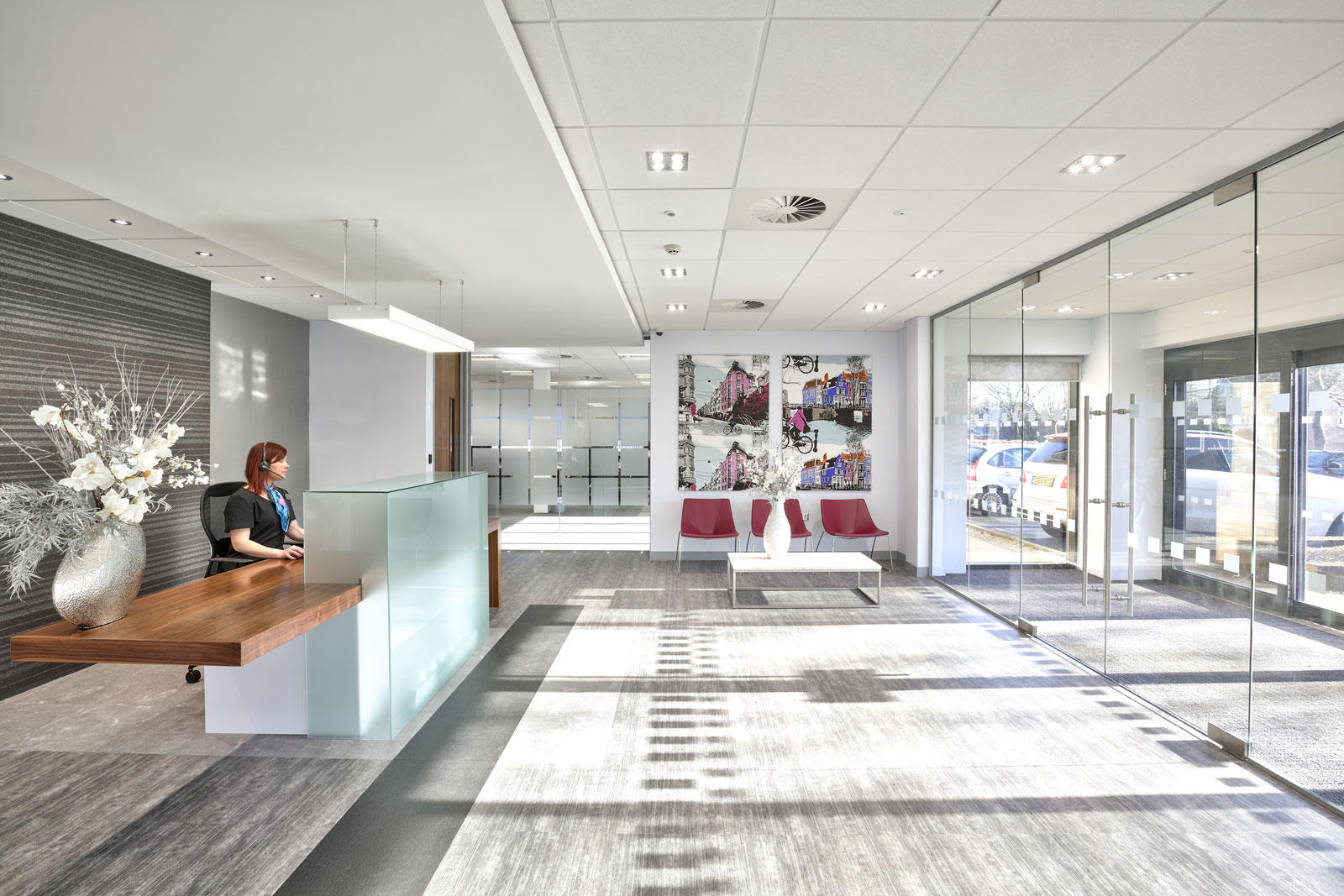 The reception area of Excalibur House serviced office in Newport, Wales